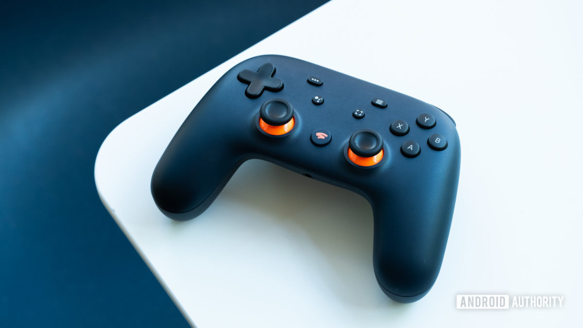 Google Stadia controller on table