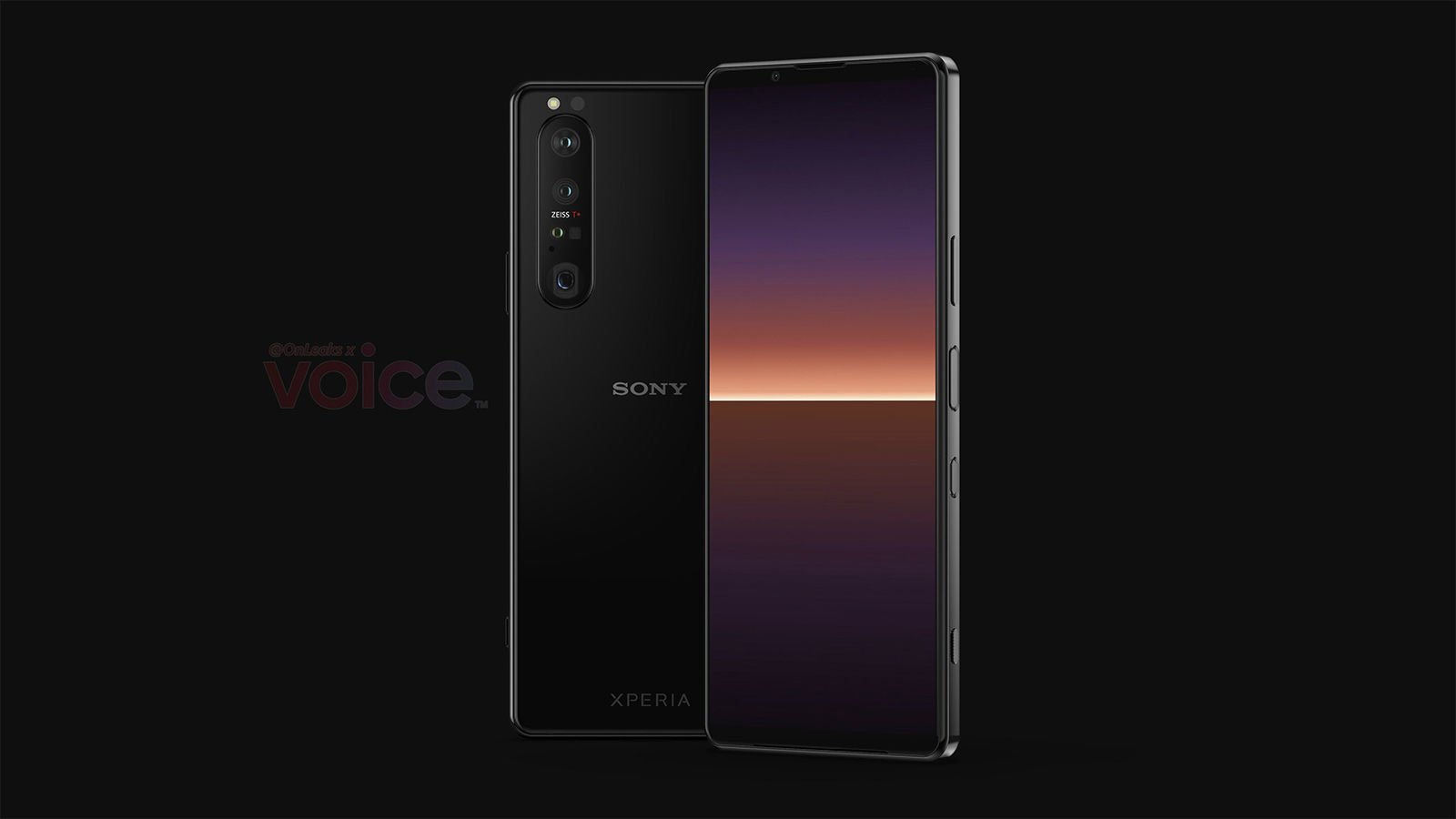 Sony Xperia 1 III leaked render front back straight | Source: OnLeaks, Voice