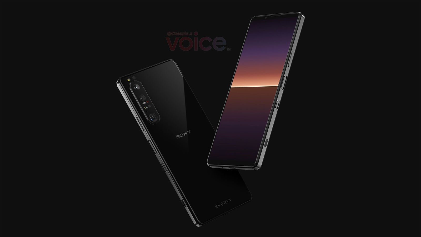 Sony Xperia 1 III leaked render front back V | Source: OnLeaks, Voice