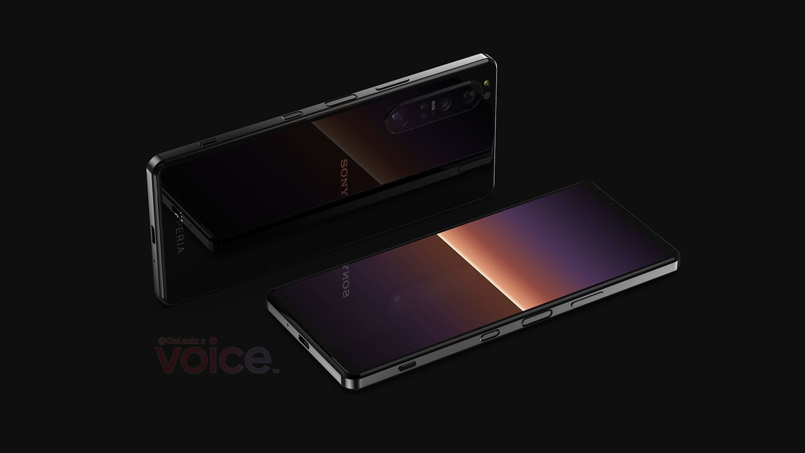 Sony Xperia 1 III leaked render front back RA | Source: OnLeaks, Voice