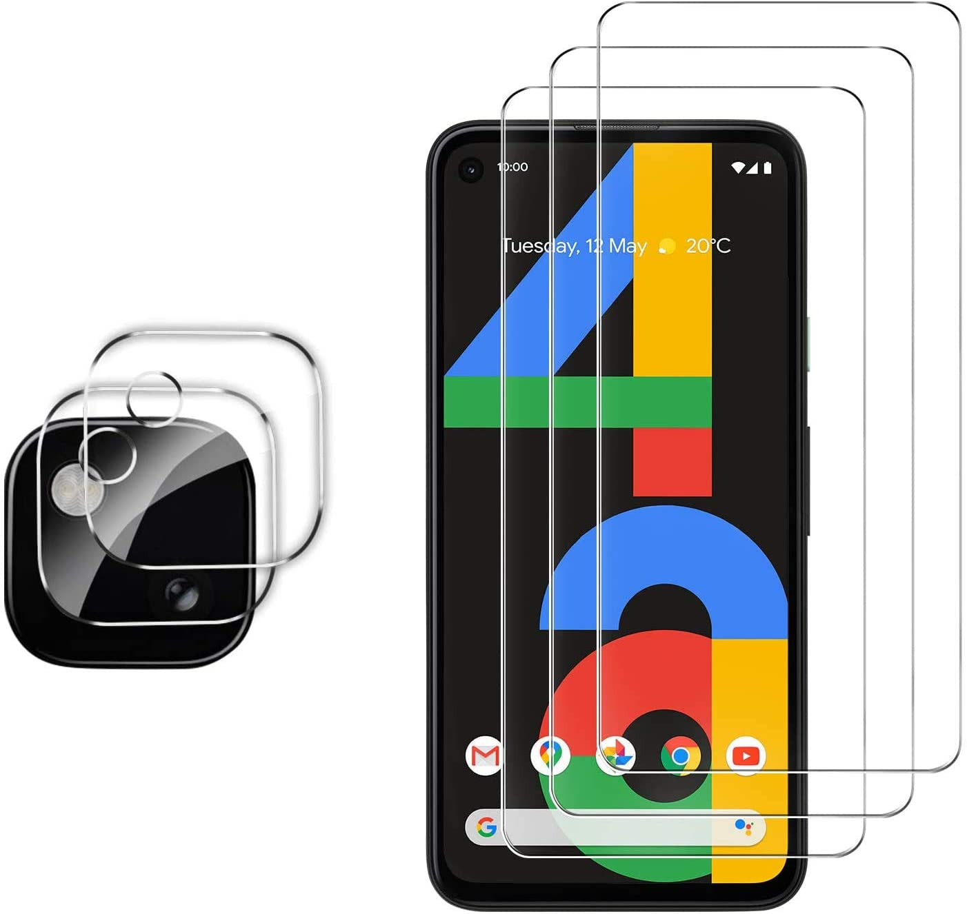 Gesma Tempered Glass Pixel 4a Screen Protector Front And Back Pack