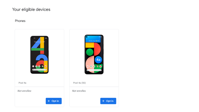 Android 12 Beta 1 compatible phones