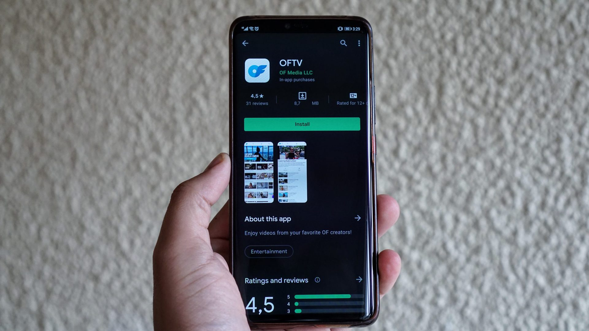 The OnlyFans OFTV app listing.