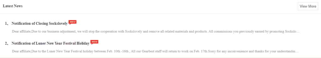 Gearbest Latest News on its affiliate page